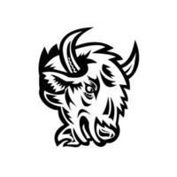 Kopf eines wütenden nordamerikanischen Bisons oder amerikanischen Büffelmaskottchens schwarz und weiß vektor