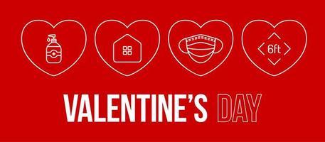 Valentinstag Coronavirus Umriss Herz Banner. Valentinstag Liebesereignisse und Feiertage während einer Pandemievektorillustration auf rotem Hintergrund. Covid-Prävention. vektor