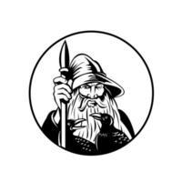Odin nordischer Gott des Krieges und der Toten und Raben Kreis Retro schwarz und weiß vektor