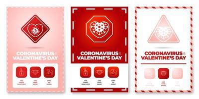 Valentinstag Coronavirus alle in einem Symbol Poster Set Vektor-Illustration. Coronavirus-Schutzflyer mit Gliederungssymbol und Straßenwarnschild. zu Hause bleiben, Gesichtsmaske verwenden, Händedesinfektionsmittel verwenden vektor