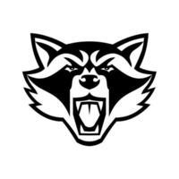 Kopf des wütenden nordamerikanischen Waschbären-Vorderansicht-Maskottchens Schwarzweiss-Maskottchens vektor