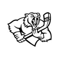 Säbelzahnkatze, die Eishockeyschläger-Maskottchen schwarz und weiß hält vektor