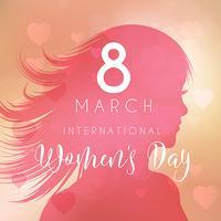 Kvinnors dag bakgrund med kvinnlig silhuett