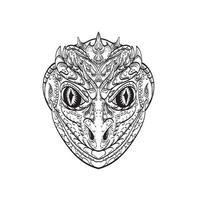 Kopf eines humanoiden Reptilien- oder anthropomorphen Reptilienteils menschlicher Teil Eidechsen-Strichzeichnungen vektor