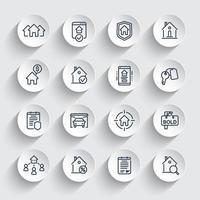 fastigheter linje ikoner set, hyresgäster, hus att hyra, försäkring vektor