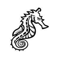 Seepferdchen oder Seepferdchen Seitenansicht Maskottchen schwarz und weiß vektor