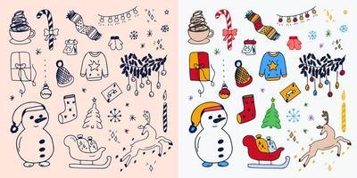 Satz von handgezeichneten umrissenen Weihnachtskritzelsymbolen vektor