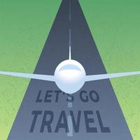 landskapsvy av landningsbanan på flygplatsen leder in i himlen med planet flygplan lyfter med text låt oss resa för tapet, bakgrund, internetbanner vektor