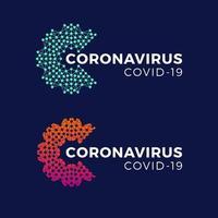 covid-19 coronavirus inskription typografi design logotyp koncept. vektor illustration