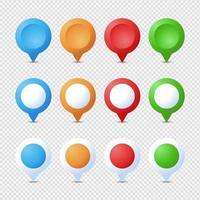 Positionsstifte gesetzt. Marker 3d. Kartenzeiger Pin Vektorsatz isoliert. Web-Standortpunkt, Zeiger 3d Pfeilmarkierung vektor