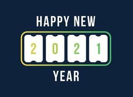Frohes neues Jahr mit 2021 Anzeigetafel. Konzept der numerischen Flipboard, feiern 2021 Kalendervorlage. flache Art Trend moderne Design Vektor-Illustration. vektor