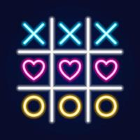 tic tac toe-spel, linjär konturikon. neon stil. ljus dekoration ikon. vektor