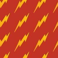 flacher Entwurf des gelben nahtlosen Donnermusters des abstrakten Vektors auf einem roten Hintergrund