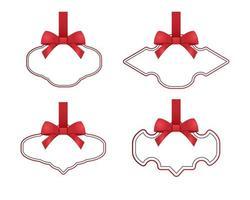 Geschenkanhänger und rote Schleife Sammlung Design Set vektor
