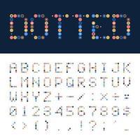 Vektor gepunktete Schrift, Alphabet. geometrische bunte gepunktete Schriftart im Retro- oder Pop-Stil, Alphabet-Illustration