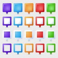 quadratische Position Stifte gesetzt. Marker 3d. Kartenzeiger Pin Vektorsatz isoliert. Web-Standortpunkt, Zeiger 3d Pfeilmarkierung vektor