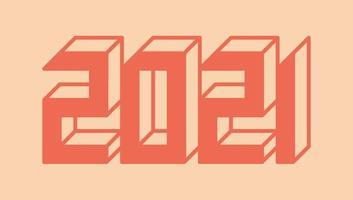 Stilvolle Grußkartenvektorillustration 3d lokalisiert auf Weiß. Frohes neues Jahr 2021. Trendige geometrische Schrift. vektor