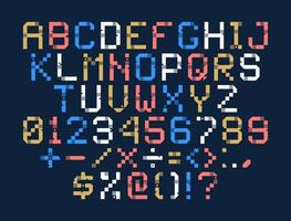 vektor pixel konst alfabetet. färgglada bokstäver består av moduler. bokstäver från remsor, rutor och prickar. geometriskt alfabet för affischer som elektronisk resultattavla
