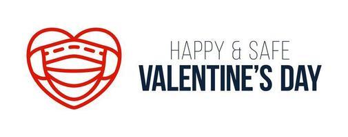 söt platt röd hjärta och medicinsk mask. glad och säker valentindag skydd av coronavirus och covid alla hjärtans dag. vektor illustration kärlek banner