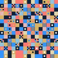 vektor sömlös bakgrund, design, modern fyrkant med prick eller cirkel inuti. pixel sömlösa mönster med färgglada element.
