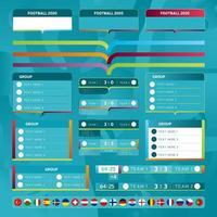 Mega Collection Kit von Vorlagen für die Europameisterschaft 2020 Vektor Stock Set. Design von Gruppentabellen, Anzeigetafeln, Teamflaggen, Hintergründen und Markenelementen.