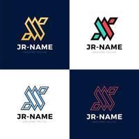 jr monogram logo inspirations set, vektor bokstäver logotyp mall. rena och kreativa mönster