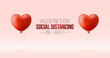 håll ett säkert avstånd medan du firar alla hjärtans dag. realistiska 3d-hjärtan ligger på avstånd från varandra. begreppet säker kärlek under coronavirus covid vektor