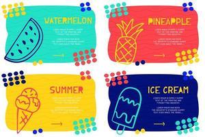 Stellen Sie abstraktes Landingpage-Muster mit verschiedenen Elementen, Textblock und Doodle-Eis, Wassermelone, Ananassymbol ein. Vektor Spaß Hintergrund