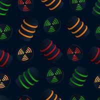 Mülleimer mit nahtlosem Muster des Vektors für radioaktiven Abfall mit Gefahrensymbol für jedes Design vektor