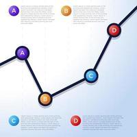 abstraktes Finanzdiagramm mit Aufwärtstrendliniendiagramm auf grauem Hintergrund. Vektorillustration