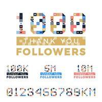 Satz geometrischer Kunstnummern für Dankes-Anhängerentwurf. Follower Glückwunschkarte. Vektorillustration für soziale Netzwerke. Webbenutzer oder Blogger feiern eine große Anzahl von Abonnenten.