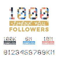 uppsättning geometriska konstnummer för tackdesign. anhängare gratulationskort. vektorillustration för sociala nätverk. webbanvändare eller bloggare firar ett stort antal prenumeranter. vektor