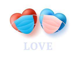 Liebeskonzept mit zwei niedlichen realistischen roten und blauen Herzen des Paares in der medizinischen Maske. Schutz von Coronavirus und Covid Valentinstag. Vektor-Illustration Liebesbanner vektor
