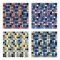 sömlös vektormönster för abstrakt bakgrund gjord med cirkulära geometriska former eller prickar med linje. färgglad, lekfull, trendig och modern vektorkonst vektor