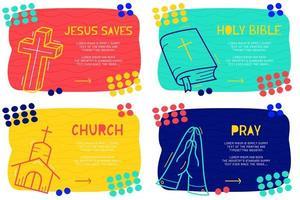 abstraktes Landingpage-Muster mit verschiedenen Elementen, Textblock und Gekritzel der heiligen Bibel, beten, kreuzen, Kirchenikone. Vektor Spaß Hintergrund