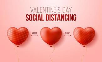 Halten Sie einen sicheren Abstand, während Sie den Valentinstag feiern. realistische 3D-Herzen befinden sich in einem Abstand voneinander. Konzept der sicheren Liebe während Coronavirus covid vektor