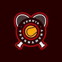 moderner Profisport-Typografie-Logo des Tennisvektors im Retro-Stil. Vektor-Design Emblem, Abzeichen und sportliche Vorlage Logo-Design vektor