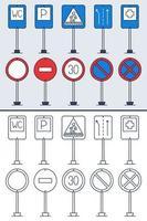 Vektorsatz von Gekritzel-Verkehrszeichen im bunten und Gekritzel-Umrissstil. handgezeichnete Verkehrszeichensymbole lokalisiert auf weißem Hintergrund. vektor