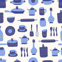 nahtloses Muster der Küche von dekorativen Geschirrartikeln. Keramikutensilien oder Geschirr - Tassen, Geschirr, Schalen, Krüge. Vektorillustration im flachen Stil mit blauer und orange Textur. vektor
