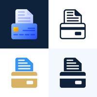 bankdokument med kreditkortsvektorsymbolsuppsättning. konceptet att ingå ett bankavtal. framsidan av kortet med textdokument. vektor