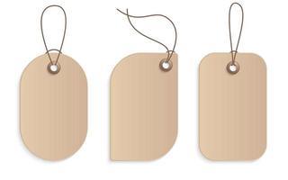 realistisk hantverk papper prislapp lager vektorillustration. kartong etikett, pappersförsäljning taggar mockup tomma etiketter mall shopping gåva tomma klistermärken med rep taggar vektor uppsättning