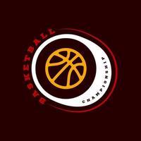 modern professionell typografi basket sport retro stil vektor emblem och mall logo design. roliga hälsningar för kläder, kort, märke, ikon, vykort, banner, tagg, klistermärken, tryck