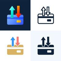 upp och ned pilar kreditkort vektor lager ikonuppsättning. begreppet dataöverföring, transaktioner med ett bankkonto. baksidan av ett kreditkort med två pilar.