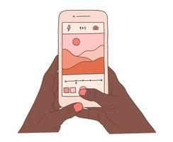afrikanische menschliche Hände, die Smartphone halten und schöne Naturlandschaftsfotos machen. flache bunte Karikaturvektorillustration des Landschaftsfotoschießens. vektor