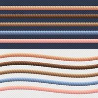 verschiedene Seilschnur gesetzt. Vektor. verschiedenfarbige Seilkollektion verdrehte Seeschnur für Bordüren oder Rahmen. Vektorillustration vektor