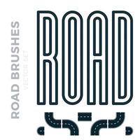 vektorillustration som inkluderar motorvägsgräns eller asfaltmönsterborste och redo för användning kurvor, perspektiv, vändningar, vändningar, öglor, element, väg med vita markeringar, isolerad på vitt.