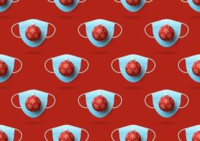 Weihnachten nahtloses Muster von medizinischen Gesichtsmasken und Weihnachtsball auf rotem Hintergrund. Virenschutz und Frohe Weihnachten Konzept. Vektor von Weihnachten 2020 und Coronavirus covid-19 während der Pandemie