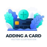 Plusknopf und Kreditkartenvektorvorratillustration lokalisiert auf einem weißen Hintergrund. Konzept der Eröffnung eines Bankkontos oder der Bezahlung von medizinischen Leistungen. Öffnen einer Bankkreditkarte. vektor
