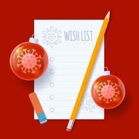 Weihnachtswunschliste. Covid Coronavirus Wunschliste mit Papier, Baumkugelball und Bleistift. realistische Vektorillustration vektor