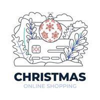 jul online shopping kreditkort disposition vektor stockillustration isolerad för målsida eller presentation. begreppet online-shopping under coronavirus. kort med julgranbollen